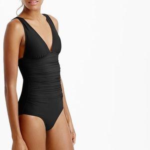 J crew long torso ruched femme one piece swimsuit